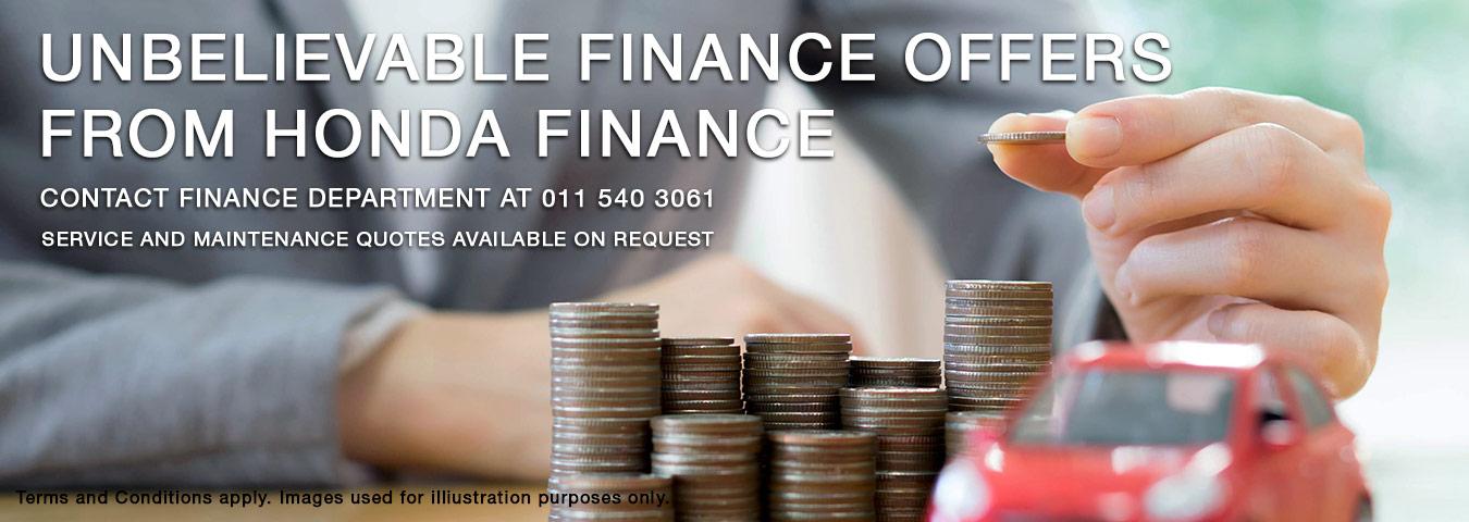 Unbelievable finance offers from Honda Finance