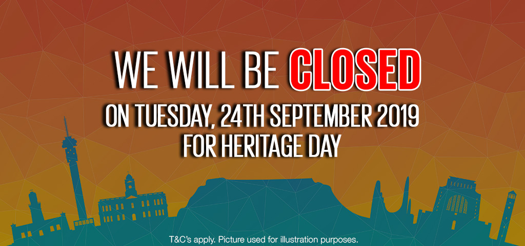 We Will Be Closed For Heritage Day