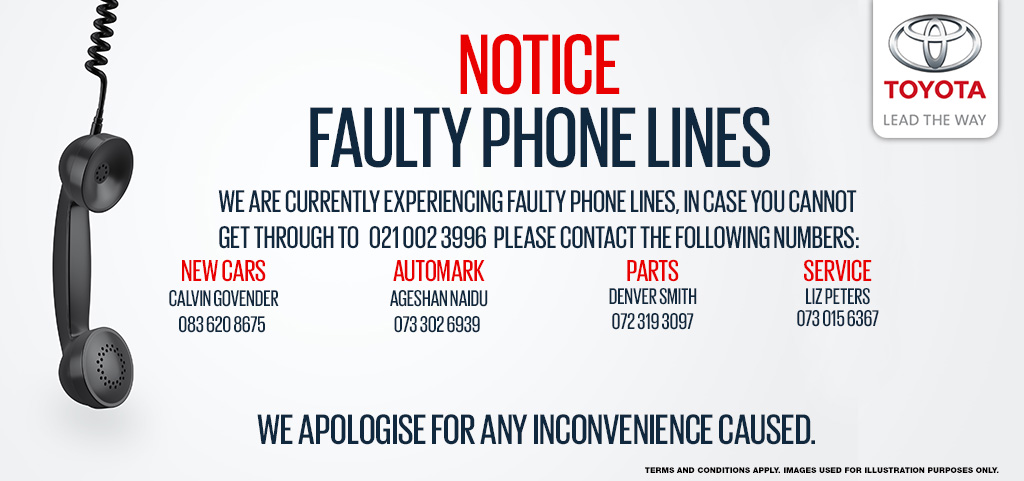 Notice   We Are Currently Experiencing Faulty Phone Lines