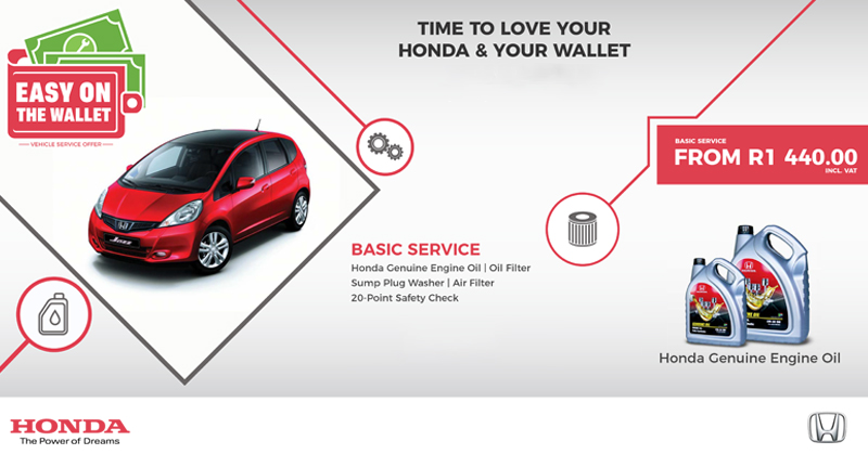 Time to love your Honda & your wallet with our Basic Service From R1 440