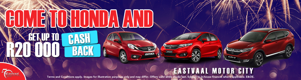 Come to Honda and get up to R20 000 cash back