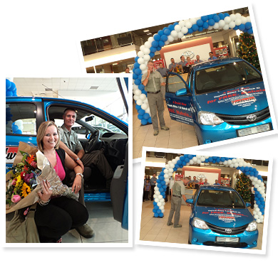 "Johan van der Sandt winning the Toyota Etios Competition! He has driven away  ""smiling from the inside out""!"