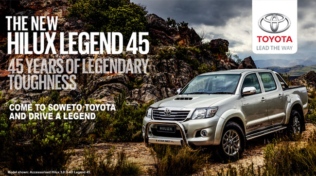 The new Hilux Legend 45 - 45 Years of legendary toughness. Come to Soweto Toyota and drive a legend.