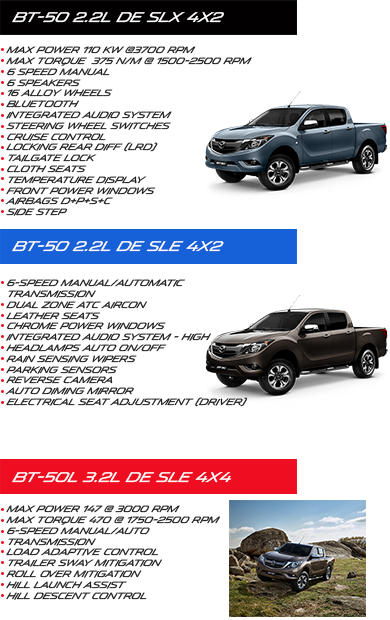 - BT-50 2.2L DE SLX 4x2 - BT-50 2.2L DE SLE 4x2 - BT-50L 3.2L DE SLE 4x4