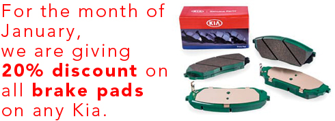 For the month of January, we are giving 20% discount on all brake pads on any Kia.