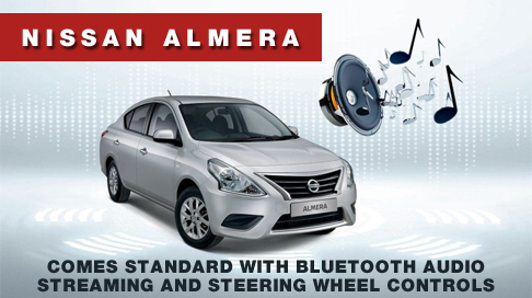 NISSAN ALMERA COMES STANDARD WITH BLUETOOTH AUDIO STREAMING AND STEERING WHEEL CONTROLS