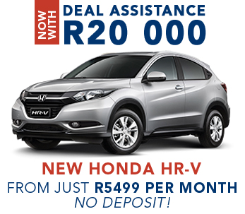 Now with Deal Assistance R20 000 New Honda HR-V from just R5499 per month, no deposit!