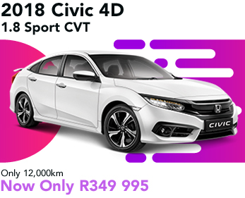 2018 Civic 4D 1.8 Sport CVT, only 12,000, now only R349 995