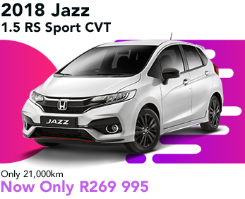2018 Jazz 1.5 RS Sport CVT, only 21,000km, now only R269 995