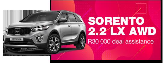 SORENTO 2.2 LX AWD: R30 000 deal assistance