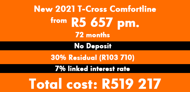 New 2021 T-Cross Comfortline from R5 657 pm.