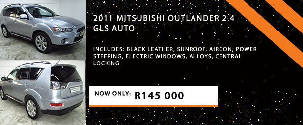 2011 MITSUBISHI OUTLANDER 2.4 GLS AUTO  Includes: Black leather, Sunroof, Aircon, Power steering, Electric windows, Alloys, Central locking  Now Only: R145 000